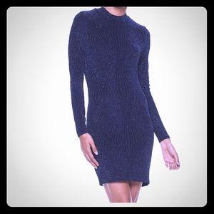 Speechless, Navy blue pattern fitted glitter dress